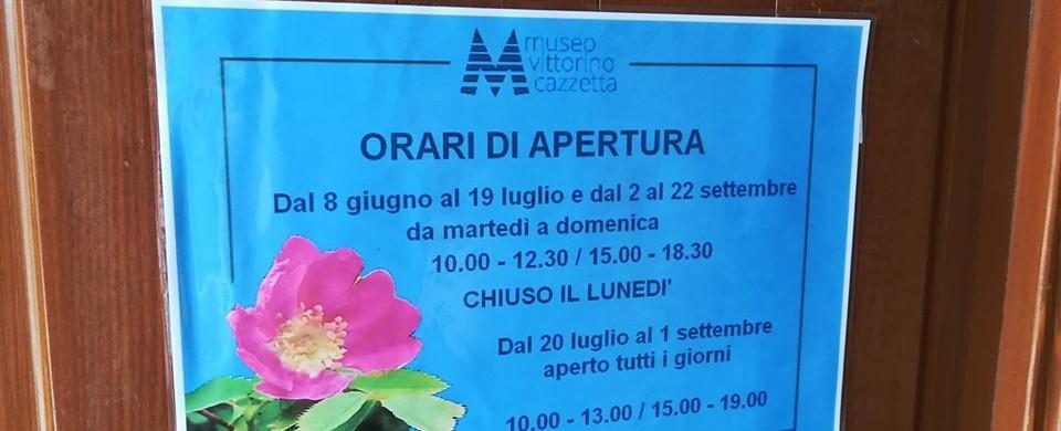 orari estate 2019 Museo Vittorino Cazzetta
